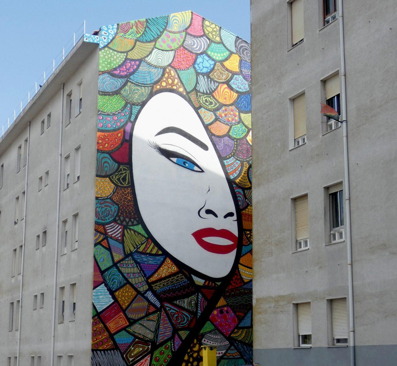 mural de arte urbana em marvila